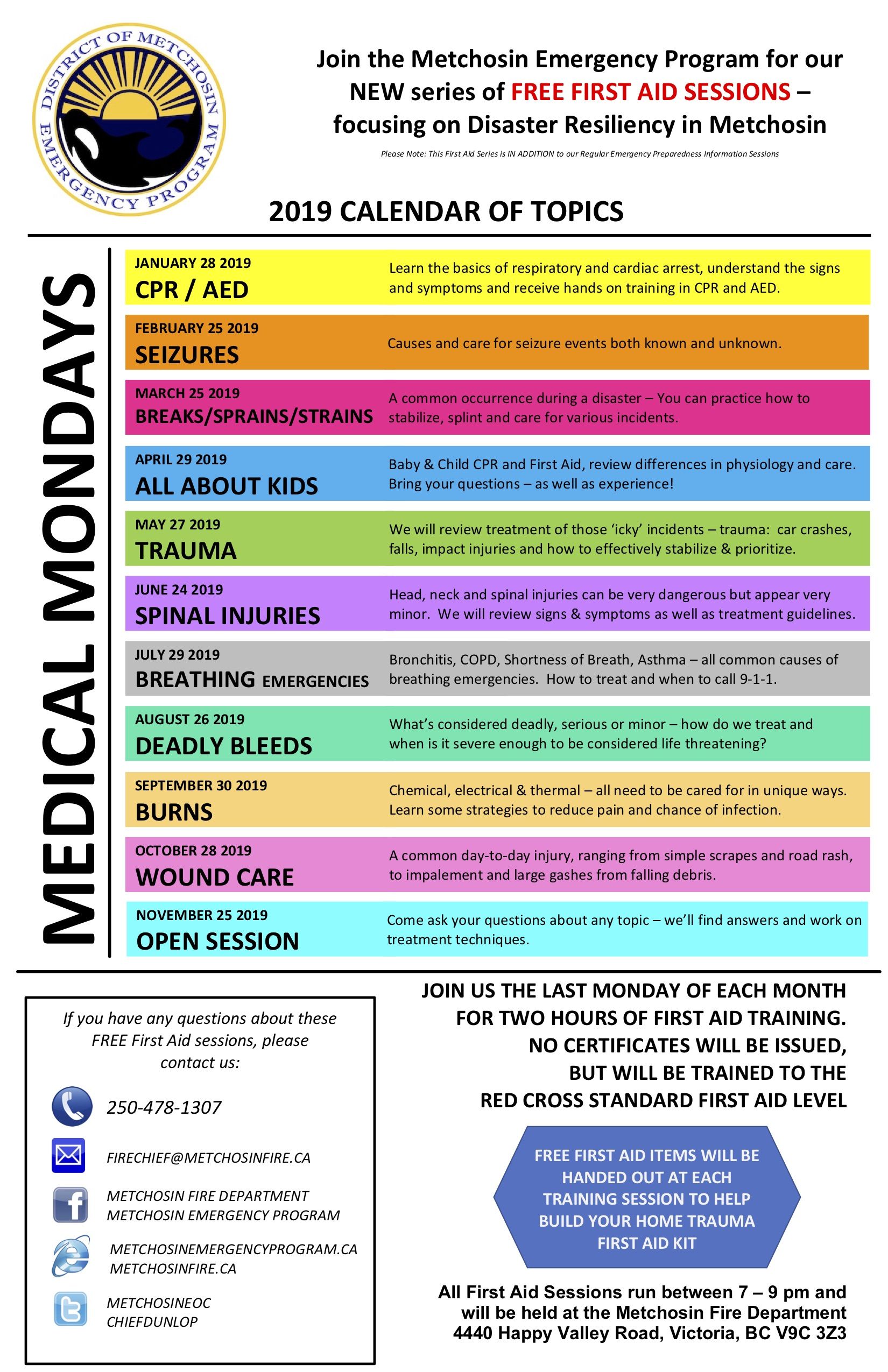 2019 Medical Monday Calendar
